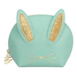 Too Faced Turquoise Cosmetic Bunny Zip Bag 🐰